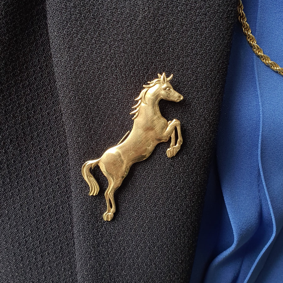 9ct Gold Horse Brooch