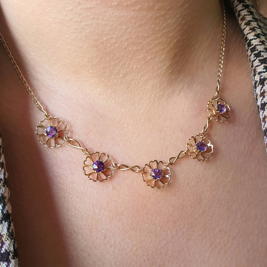 Vintage Amethyst Daisy Chain Necklace