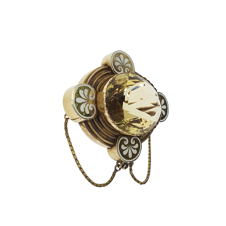Antique Citrine & Enamel Brooch