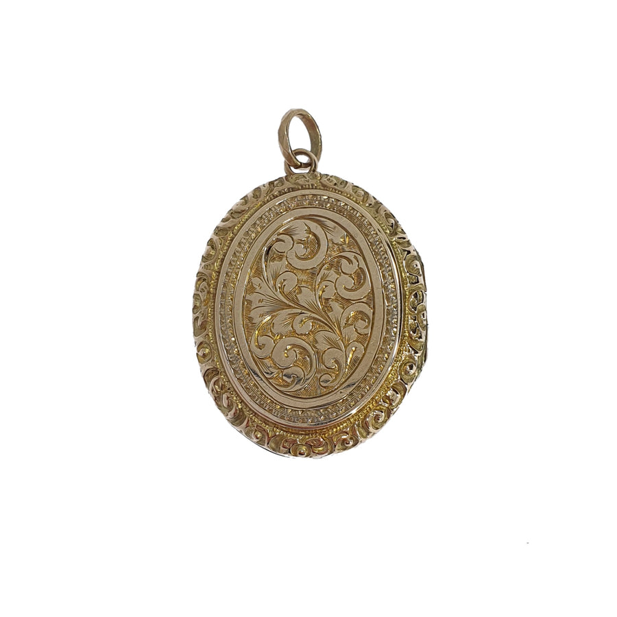 9ct Gold Engraved Oval Locket