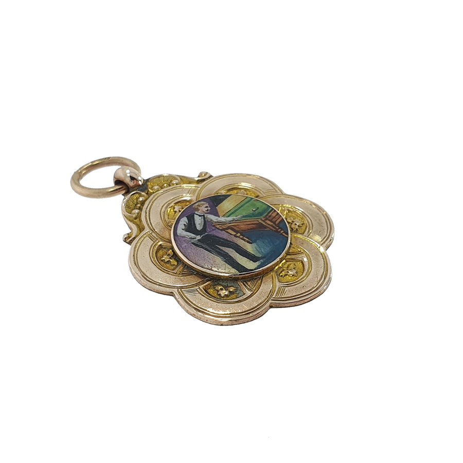 9ct Gold & Enamel Billiards Medal