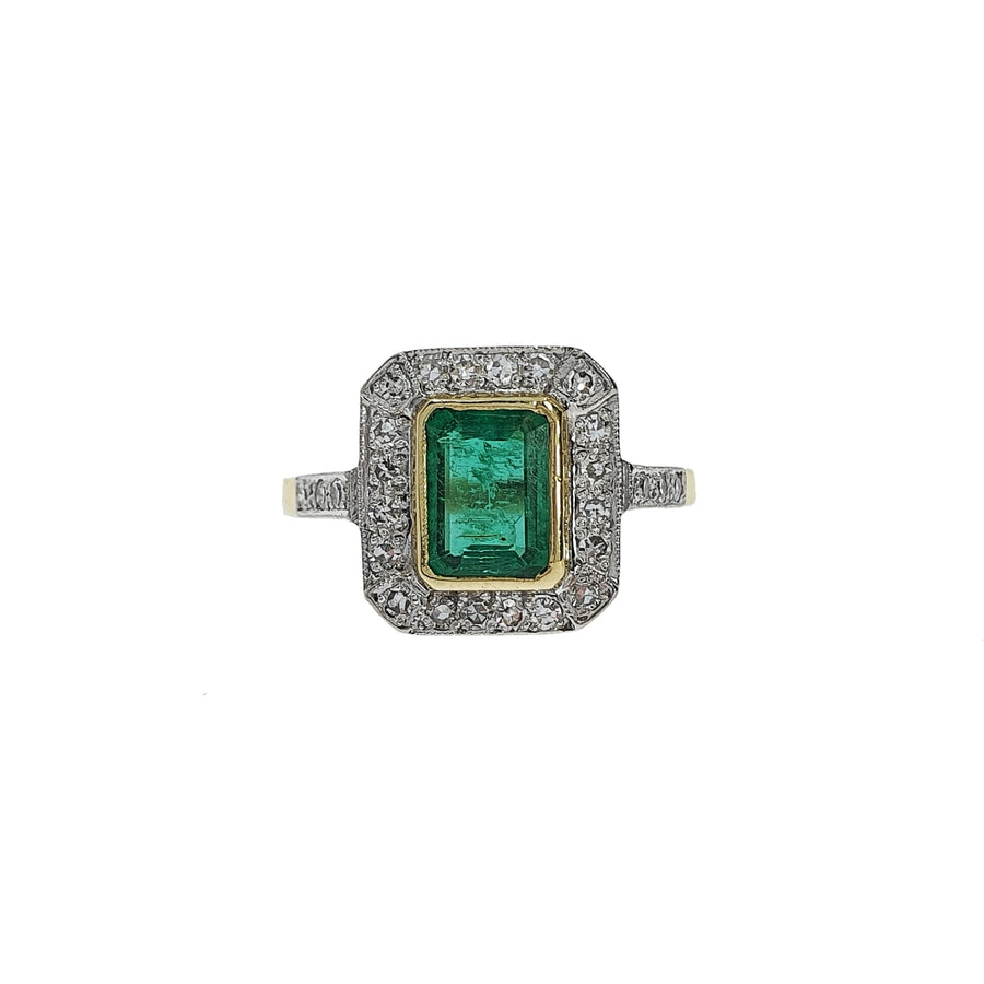 Vintage Emerald & Diamond Cluster Ring