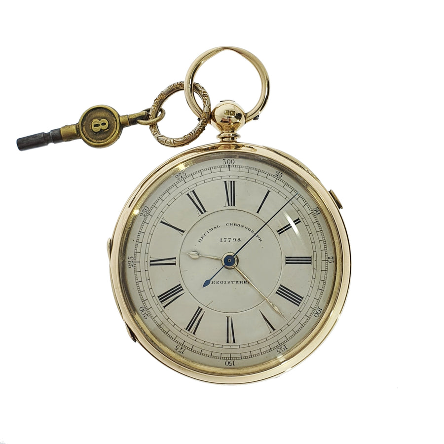 Chester Hallmark 18ct Gold Key-Wound Pocketwatch
