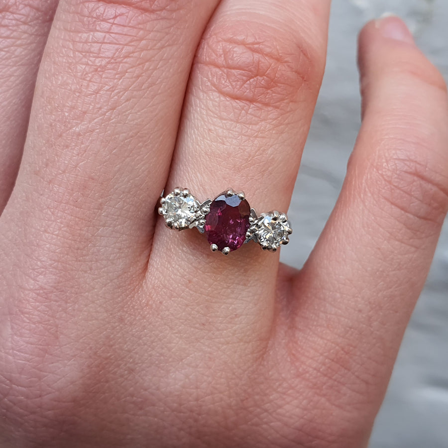 Ruby & Diamond Three Stone Ring