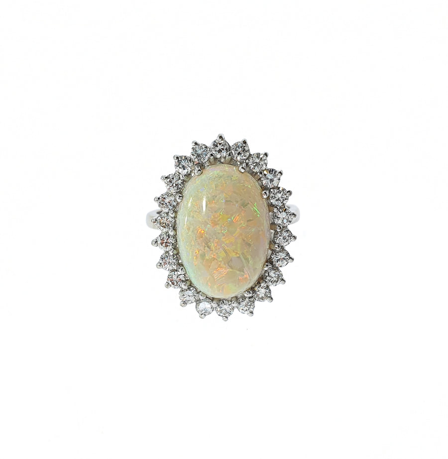 1970s Opal & Diamond Cluster Ring