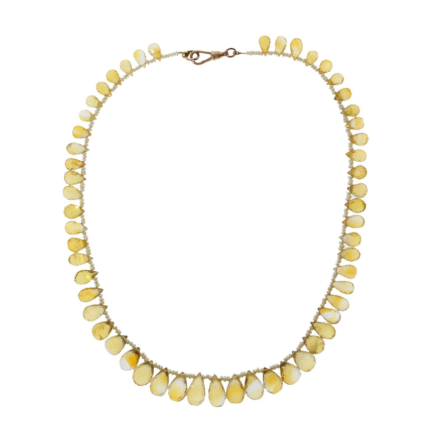 Antique Citrine & Seed Pearl Necklace
