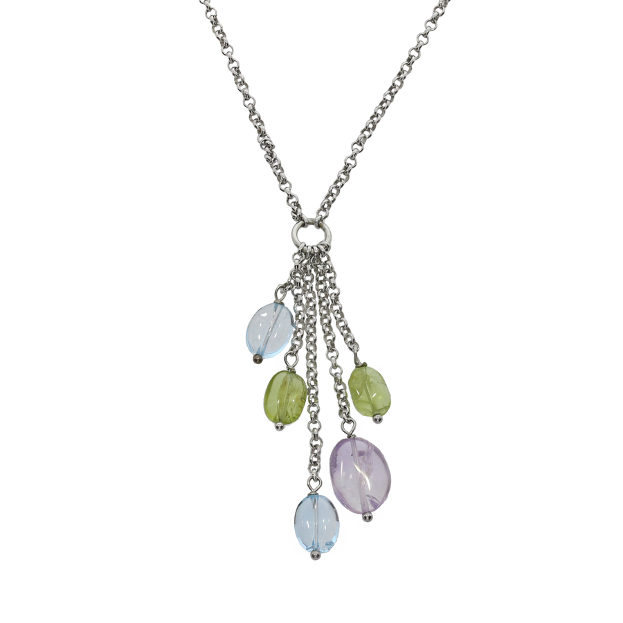 Amethyst, Blue Topaz & Peridot Drop Necklace