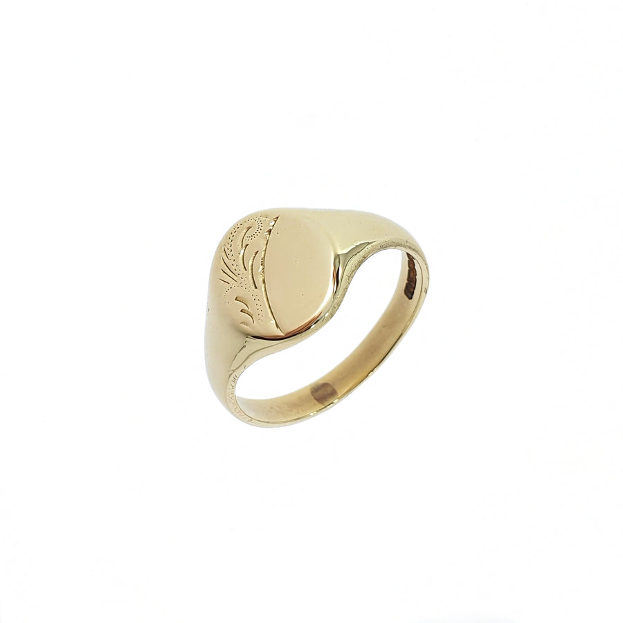Oval Half Engraved Signet Ring