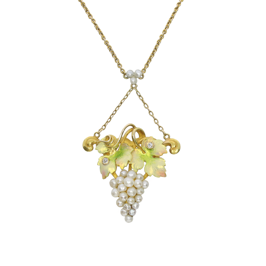 1920s American Pearl & Enamel Grapes Necklace