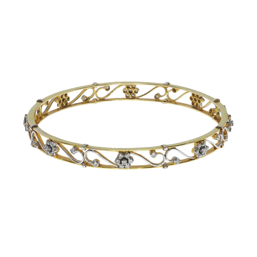 Diamond Set Foliate Bangle
