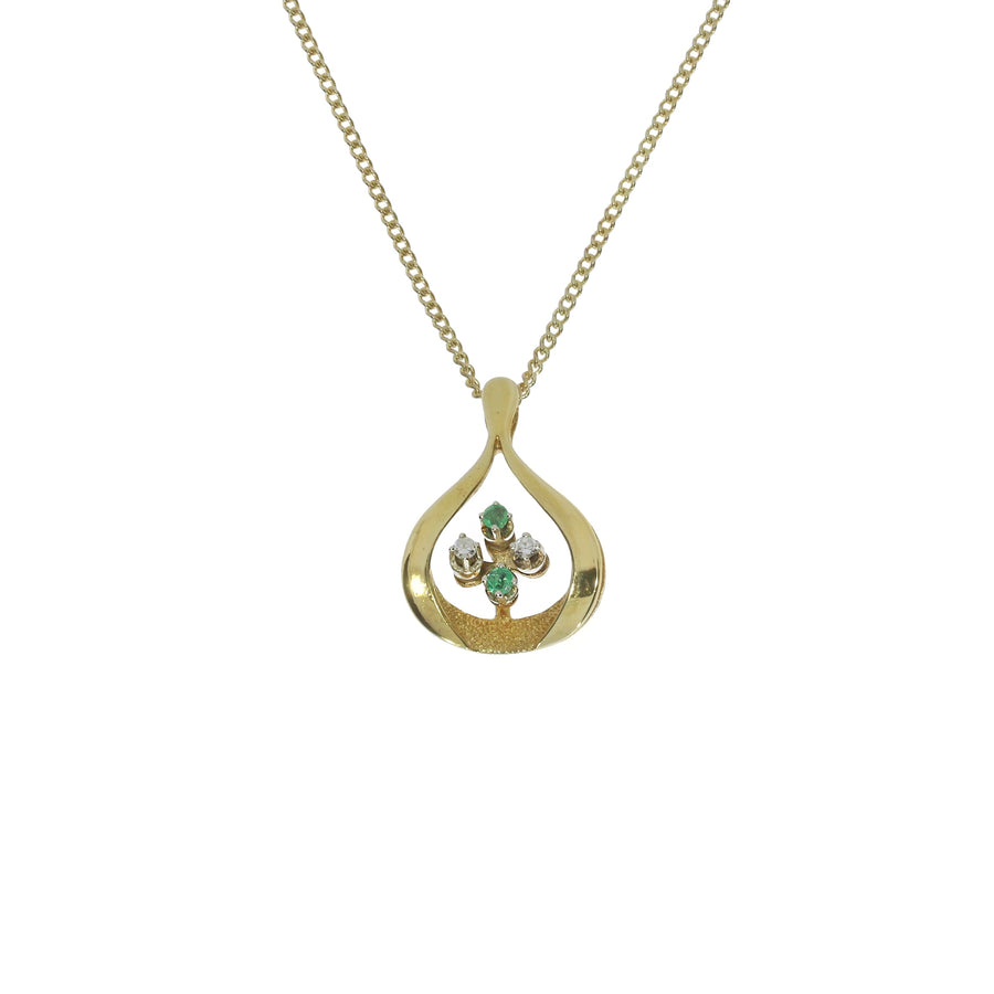 1970s Emerald & Diamond Pendant