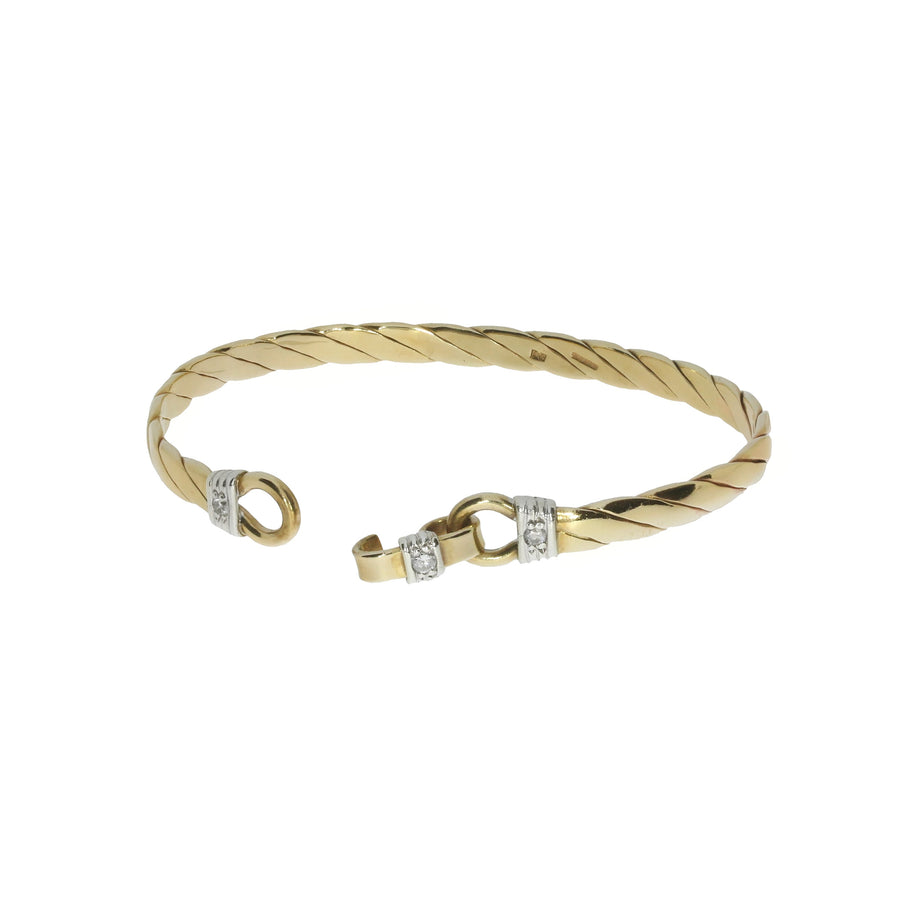Diamond Set Twist Design Bangle