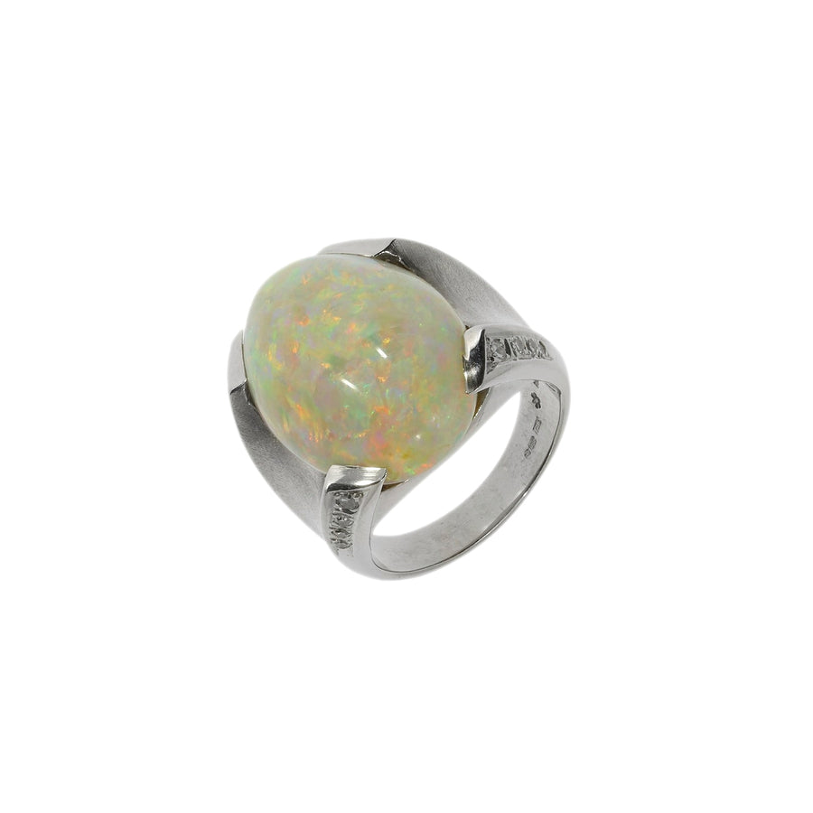 Abstract Opal & Diamond Ring