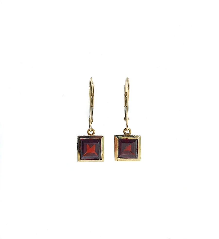Square Garnet Drop Earrings