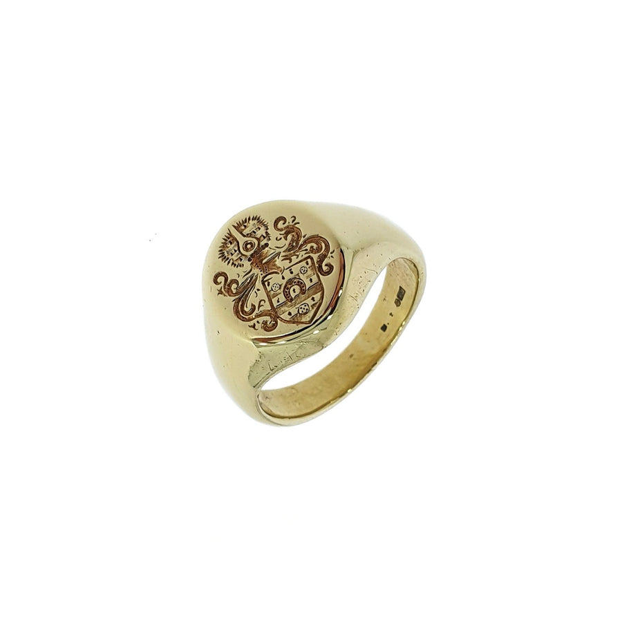 Engraved 9ct Gold Signet Ring