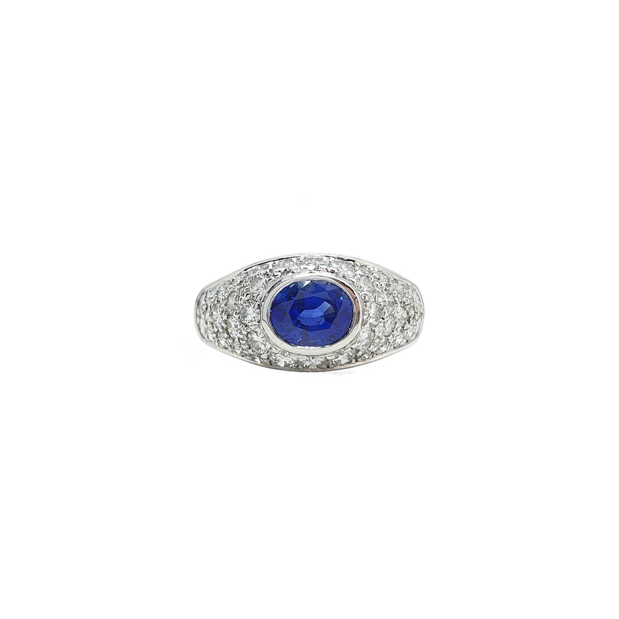 French Sapphire & Diamond Ring