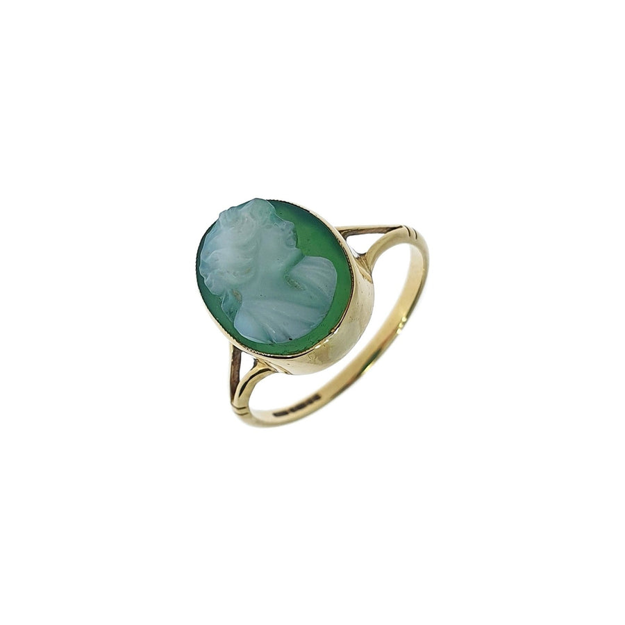 Green Chalcedony Cameo Ring