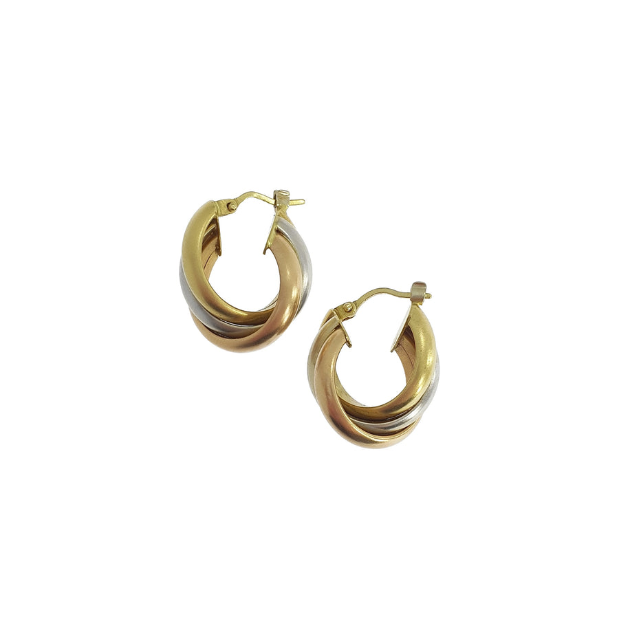 Tri-Colour 18ct Gold Earrings