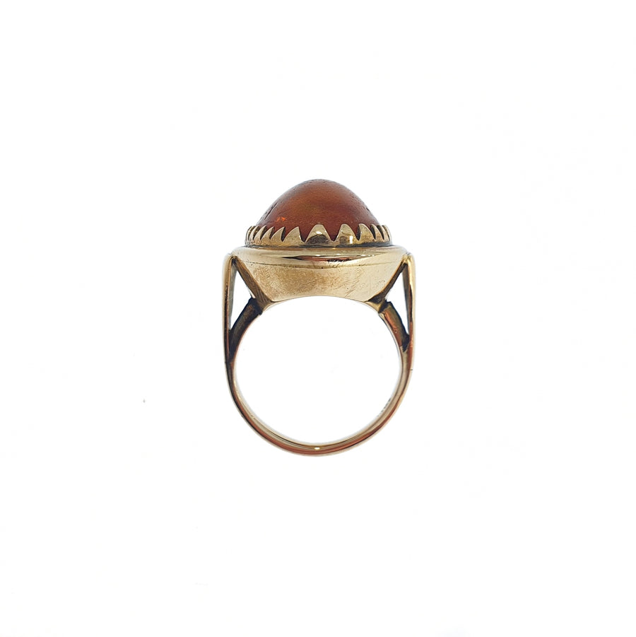 9ct Gold Amber Dress Ring
