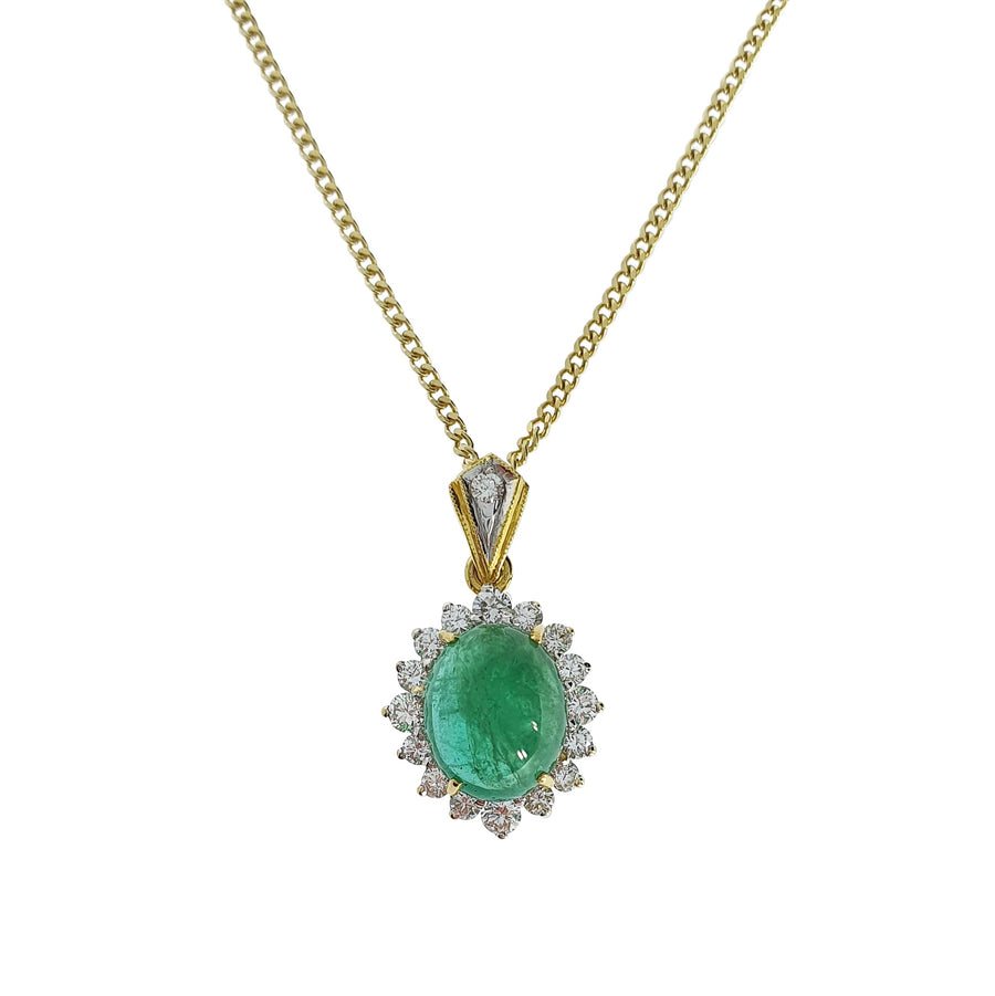 Cabochon Emerald & Diamond Pendant