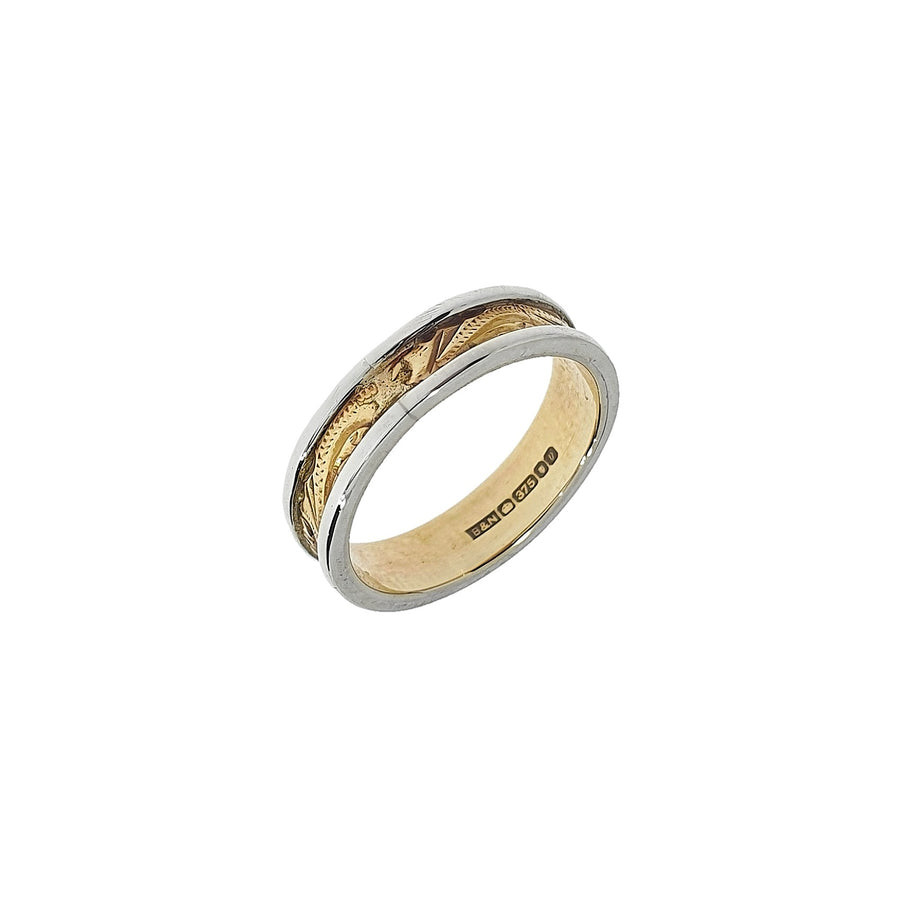 9ct Two-Tone Engraved Wedding Band