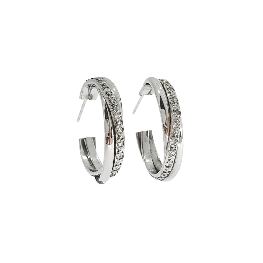 Diamond Set Half Hoop Earrings