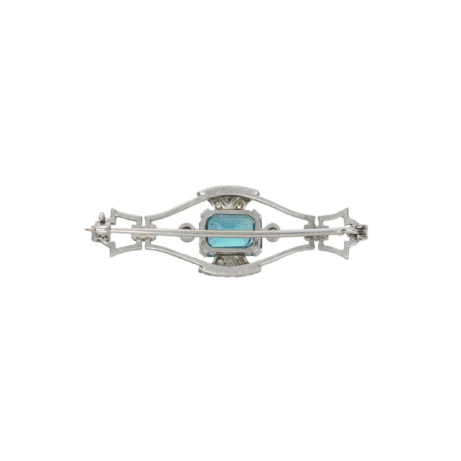 Art Deco Zircon & Diamond Brooch