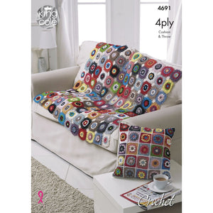 King Cole Giza Cotton 4Ply Pattern 4691 - Throw  and Cushion Cover
