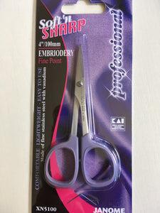 Janome 4in Soft n Sharp Professional Embroidery Scissors