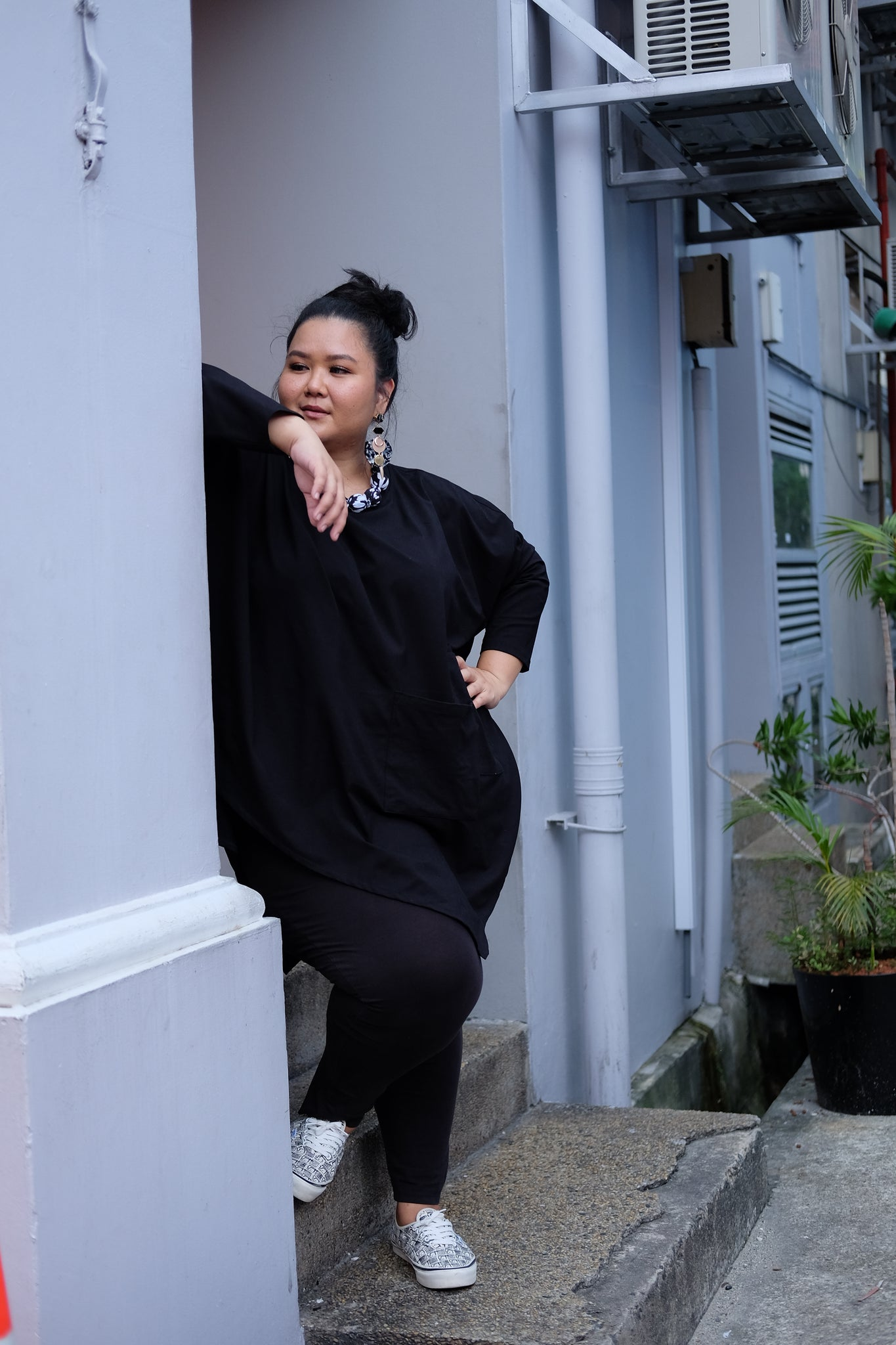 Oversized Black Tunic 100% Cotton Jersey