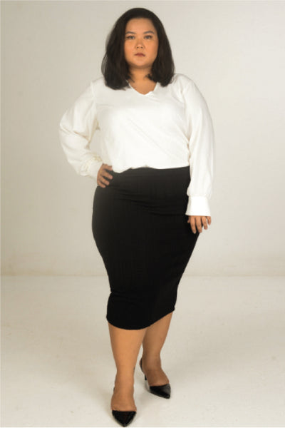 Polyester Cotton White Top With Bishop Sleeve
