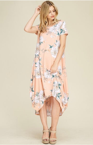 Floral Blush High-Low Dress