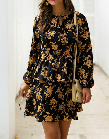 Floral Printed Drawstring Mini Dress