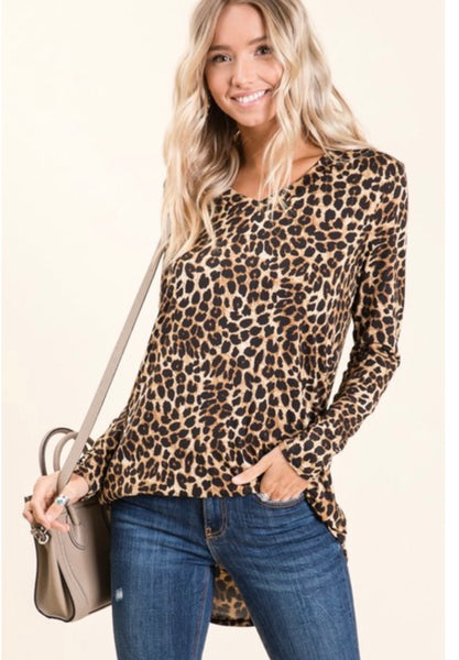 Silky Cheetah Print V-Neck