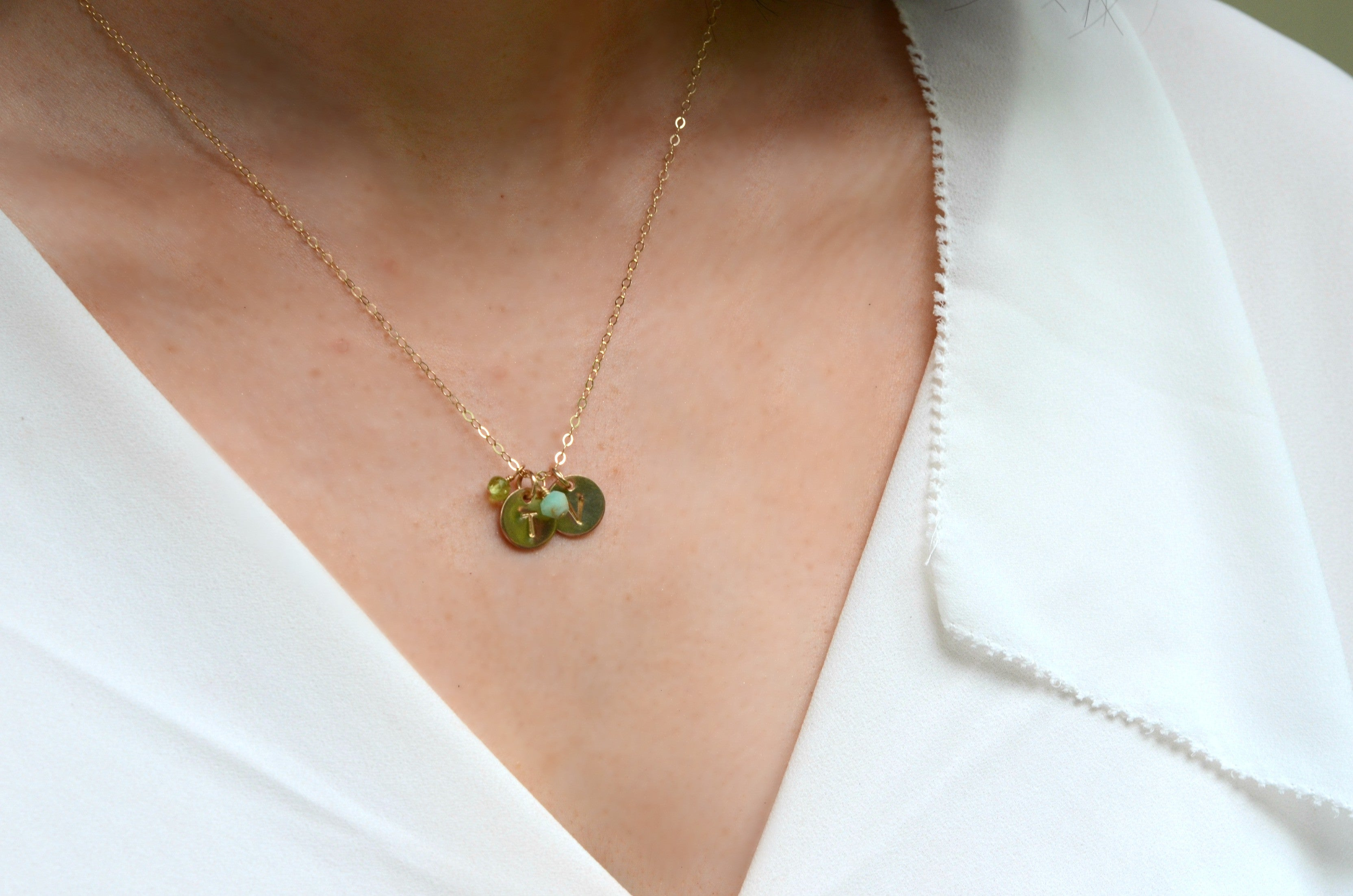 Gemstone necklace Gold filled necklace with small corniola stones