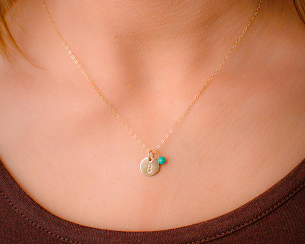 Mini Gold Filled Initial Necklace With Birthstone 3 8