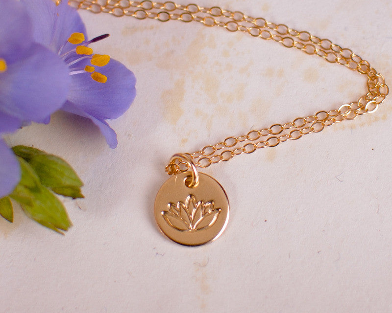 Tiny gold lotus necklace cute little dainty gold filled lotus tiny gold lotus necklace cute little dainty gold filled lotus charm pendant zen jewelry yoga necklace mozeypictures Image collections