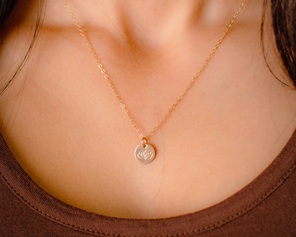 Tiny Gold Lotus Necklace Cute Little Dainty Gold Filled