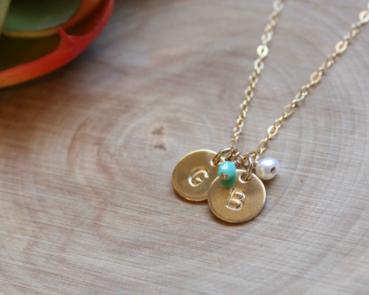 Mini Gold Filled Two Initial Necklace With Birthstone 3 8