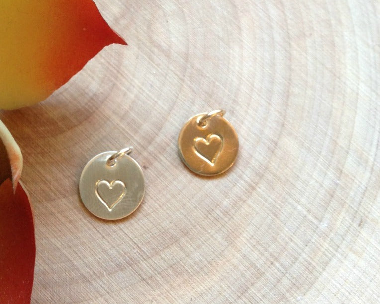 869bb55aa07b95 Mini Heart Stamp Disc Add-On (Silver or Gold Filled) - EFYTAL Jewelry