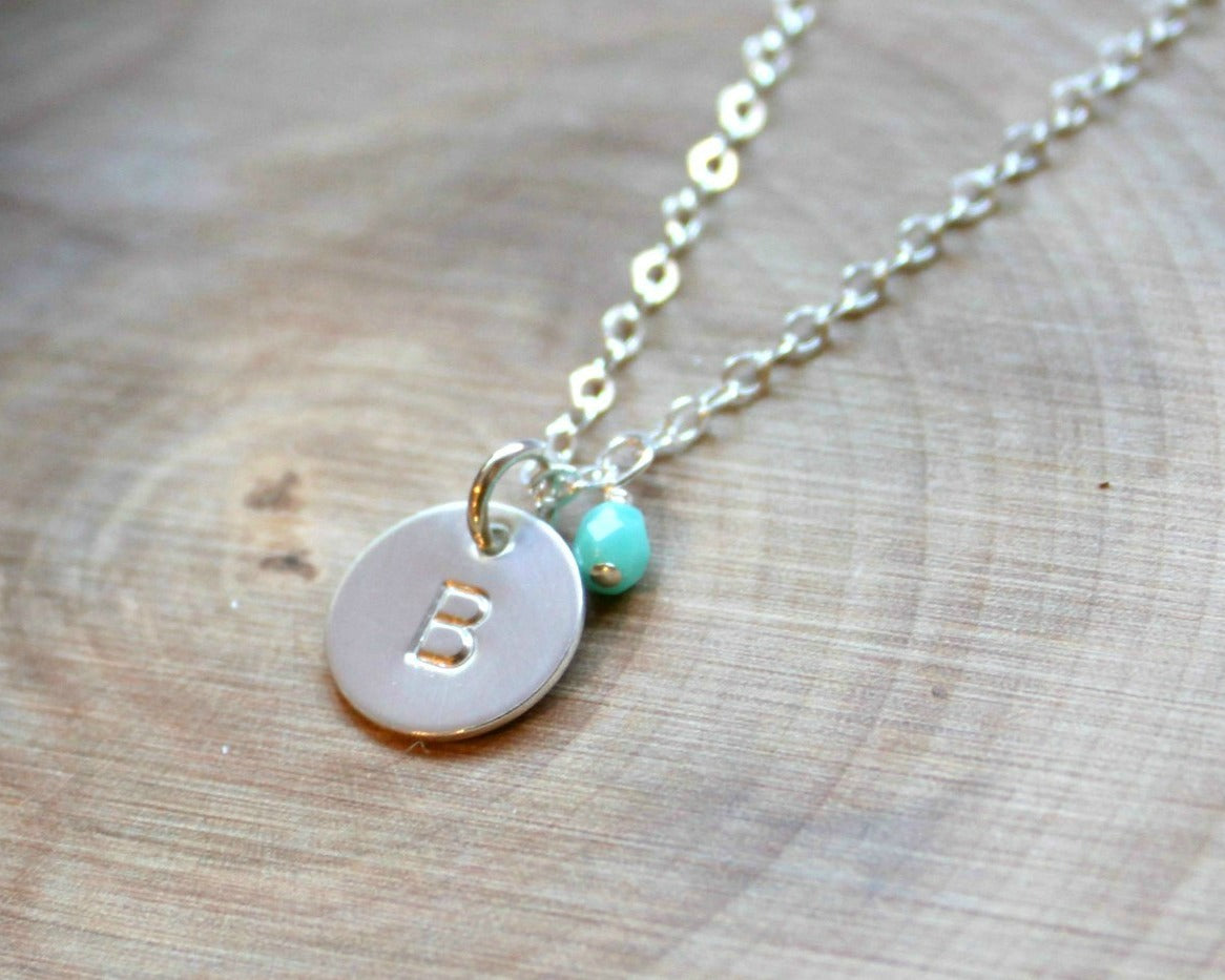 71e44d836f91 Mini Sterling Silver Initial Necklace with Birthstone (3 8