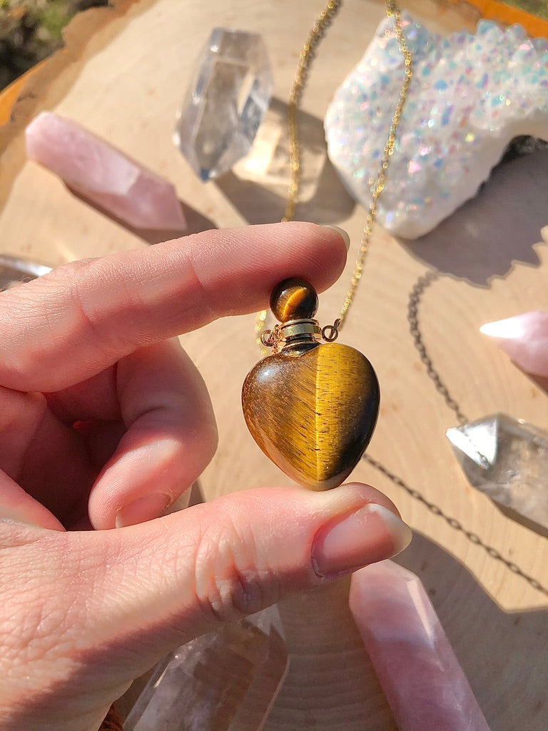 Tigers Eye Heart Perfume Bottle Necklace