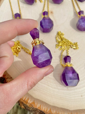 Amethyst Perfume Bottle Necklace (silver or gold color chain available)
