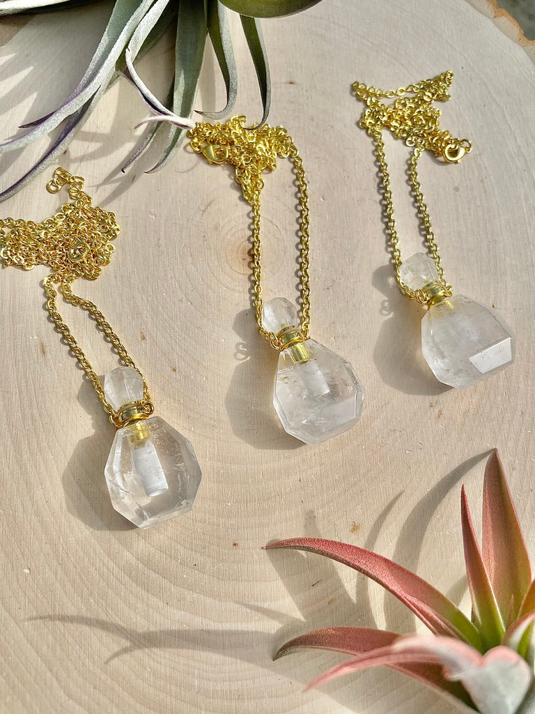 Clear Quartz Perfume Bottle Necklace