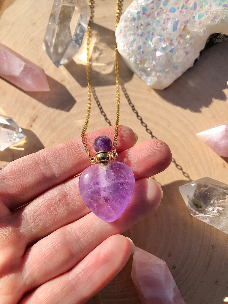Heart Shaped Amethyst Perfume Bottle Necklace