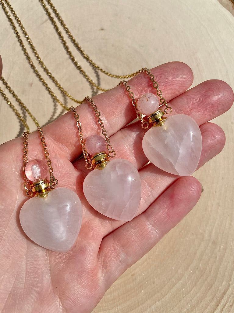 Rose Quartz Heart Perfume Bottle Necklace