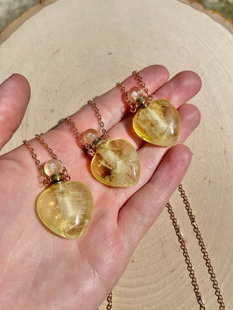 Citrine Crystal Heart Perfume Bottle Necklace