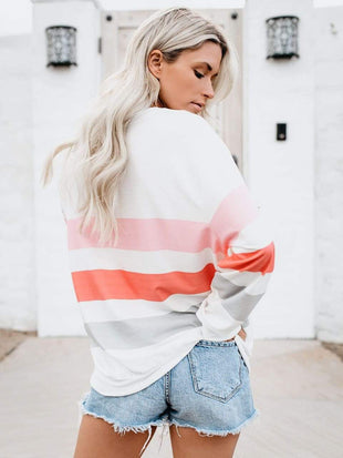 wiccous.com T-Shirts White / S Loose Striped Pullover