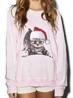 Christmas Cat Print Pullover Sweater