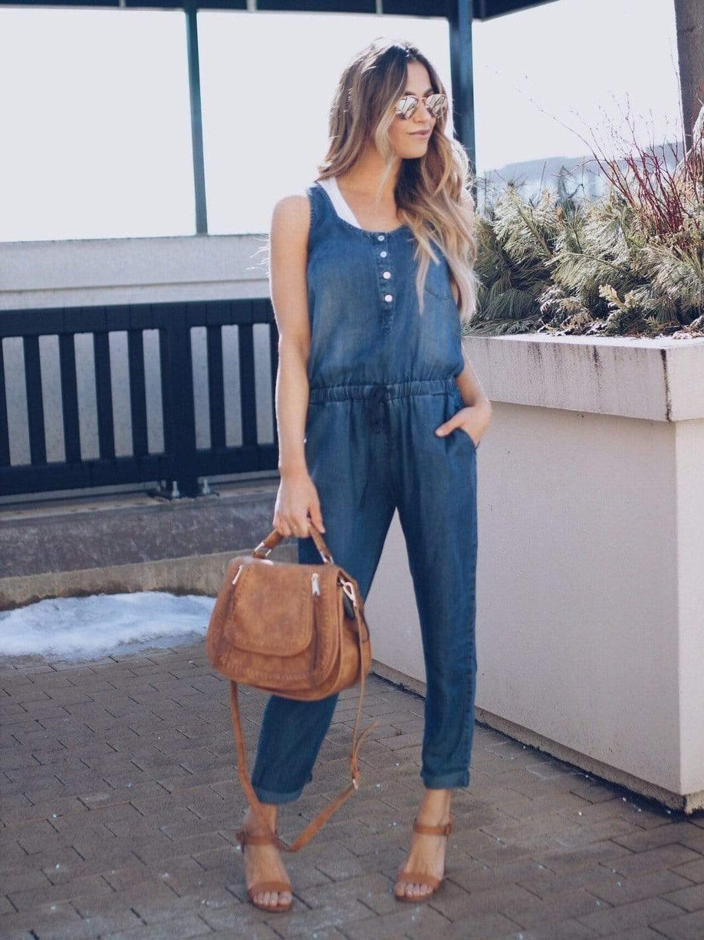 wiccous.com Jumpsuits deep / S Denim Casual Jumpsuit